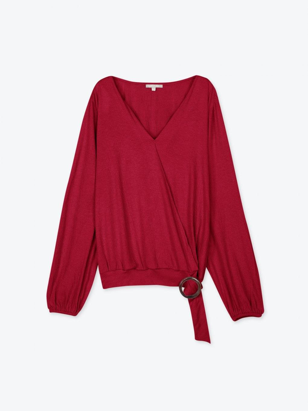 Wrap structured blouse with round buckle