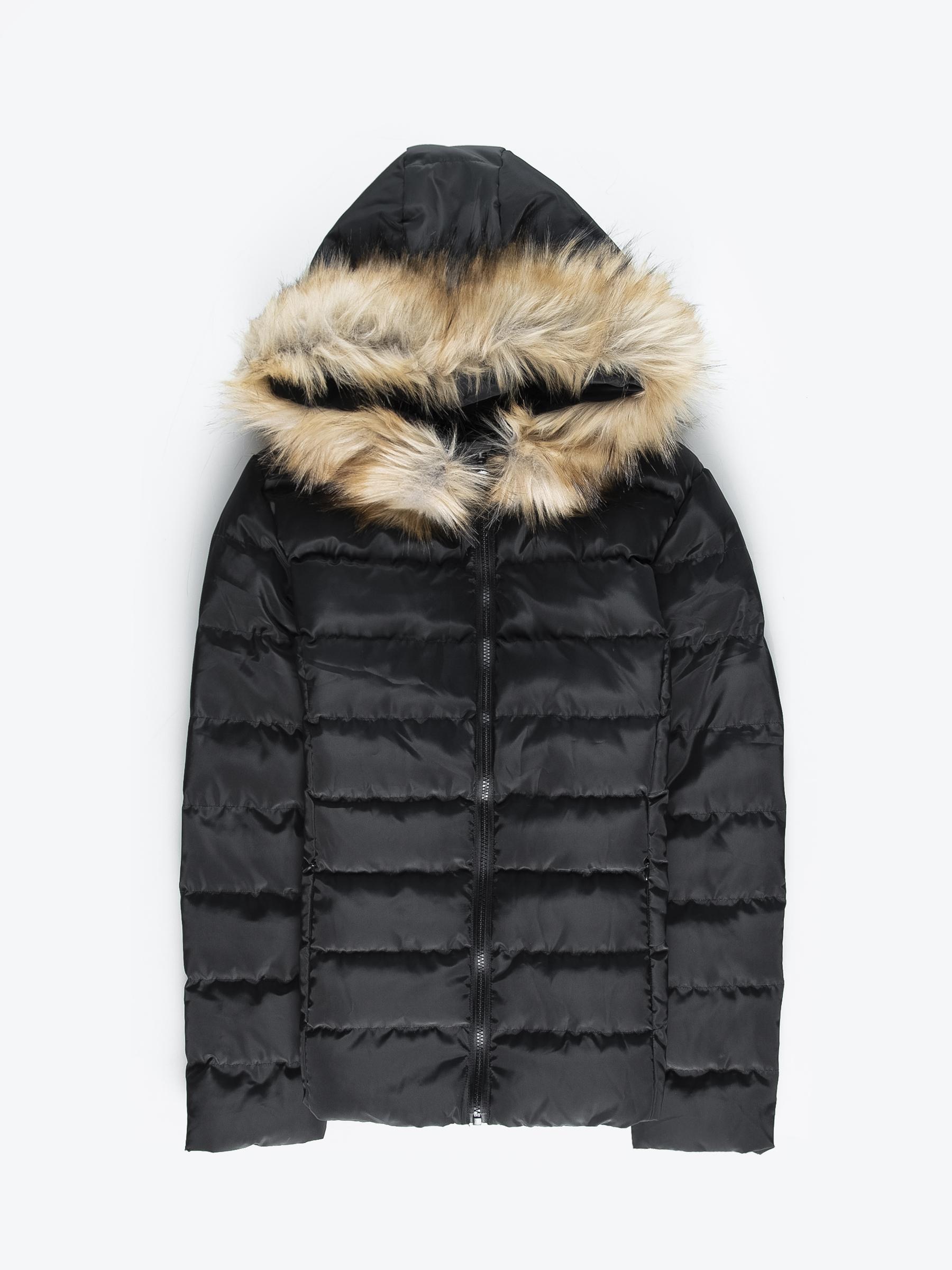 GATE Prošívaná vatovaná bunda s umělou kožešinou