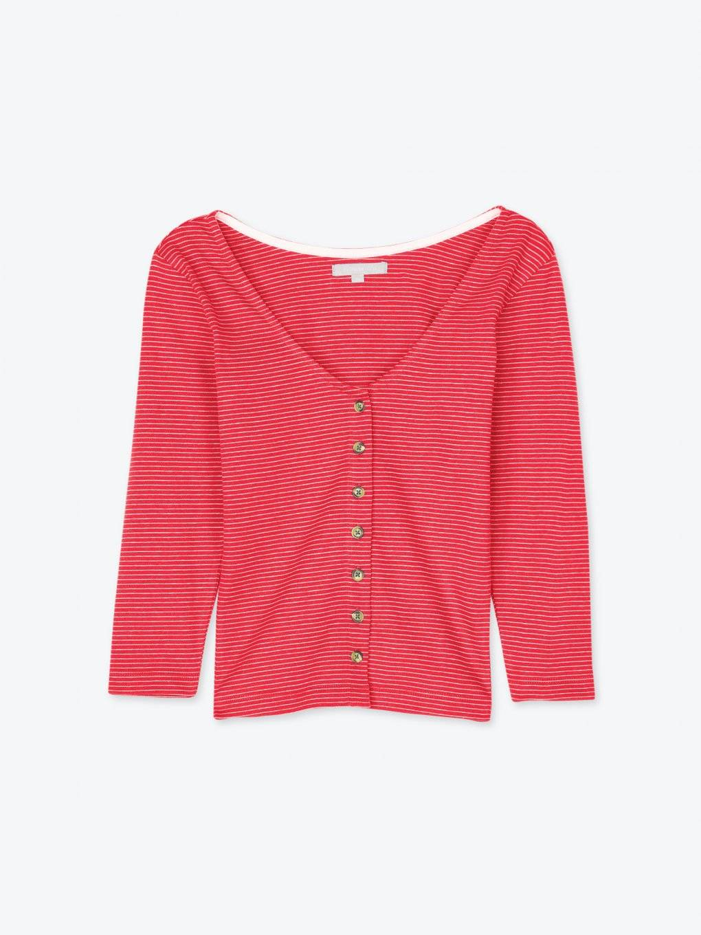 Striped top with front buttons