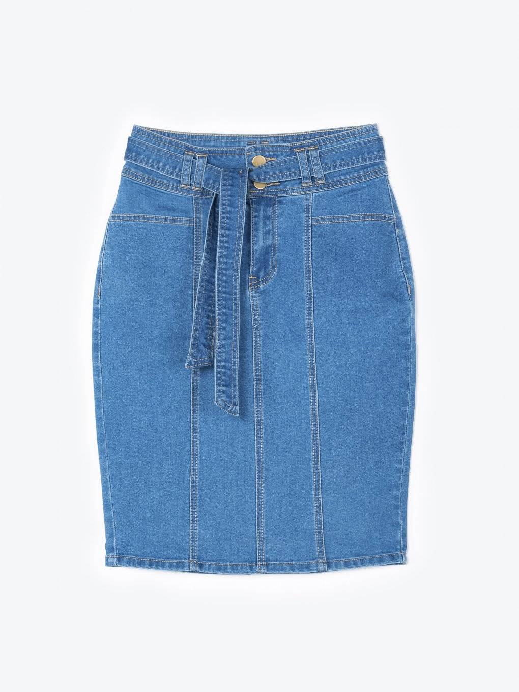 Bodycon denim skirt with belt