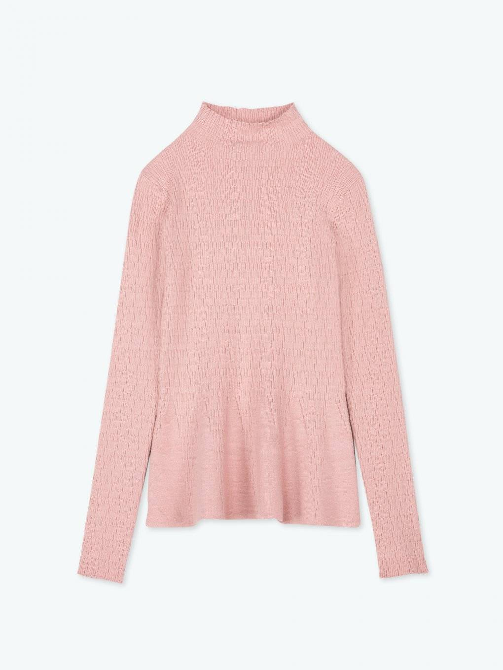 Structured high collar pullover with ruffled hem