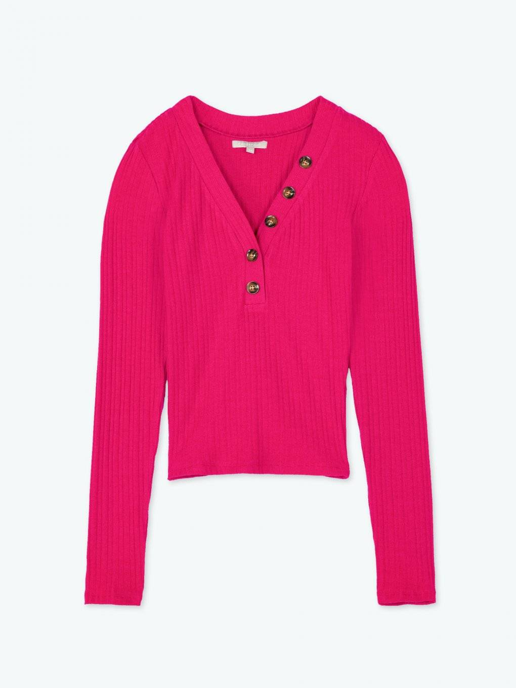 Ribbed v-neck long sleeve top with buttons