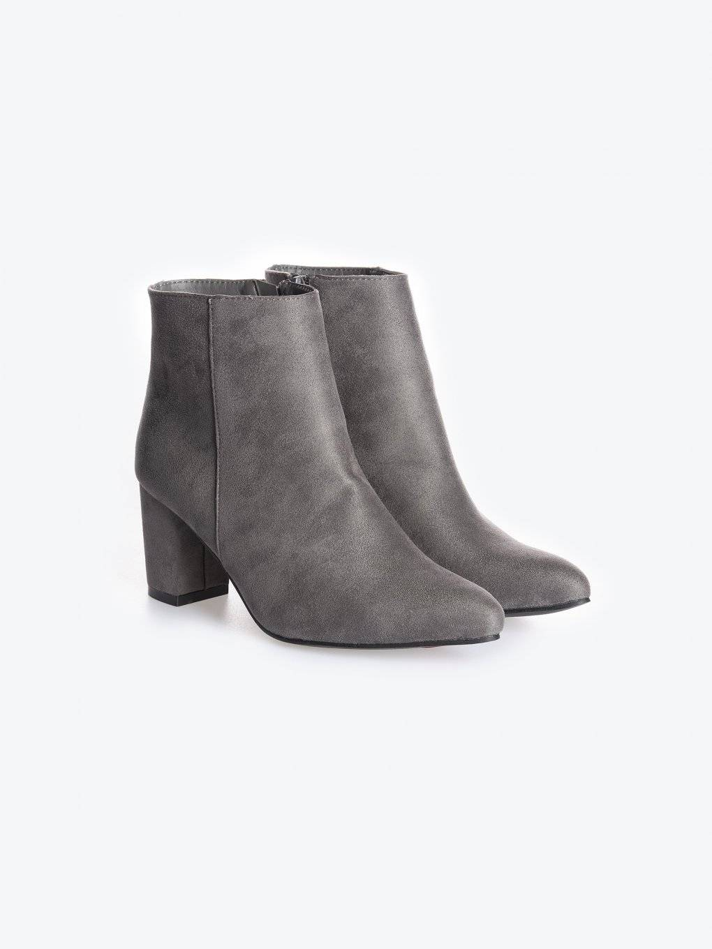 Faux suede high heel ankle boots