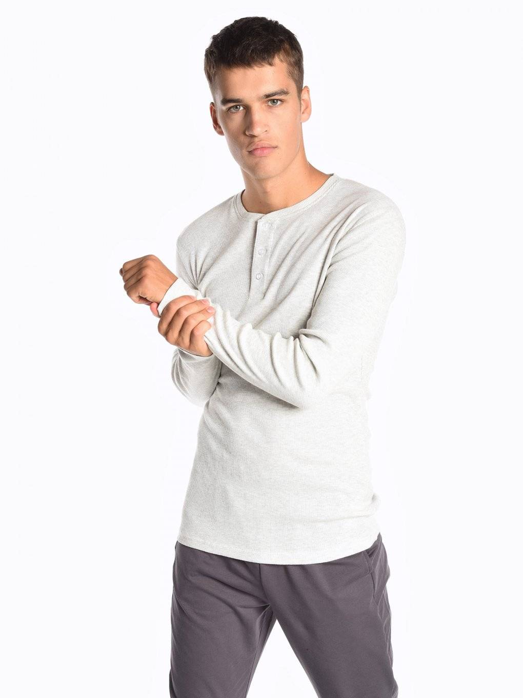 Basic ribbed t-shirt with front buttons