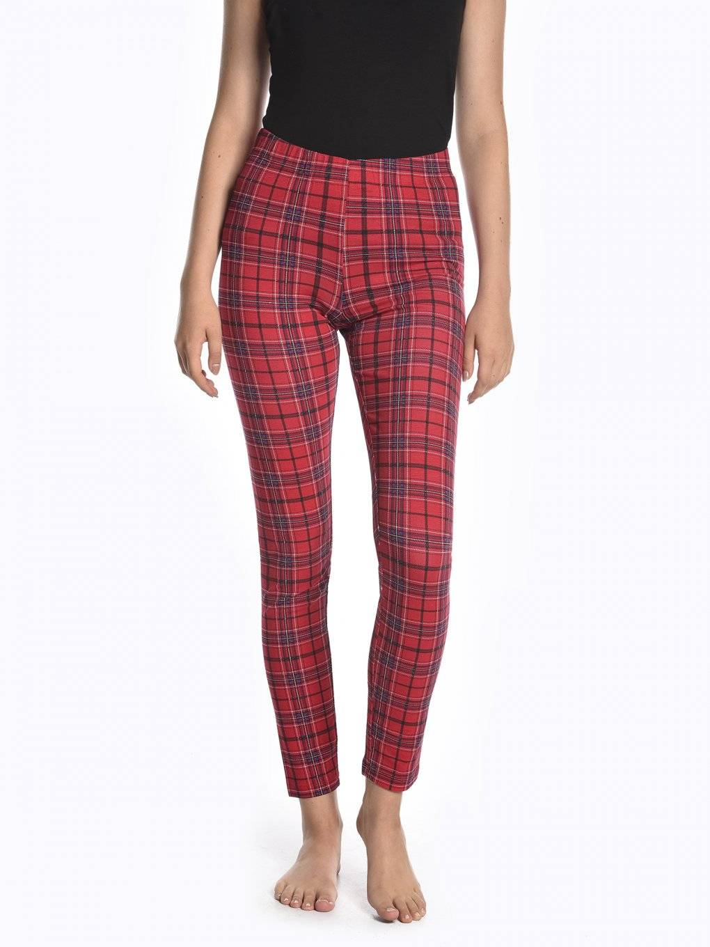 Plaid cotton leggings