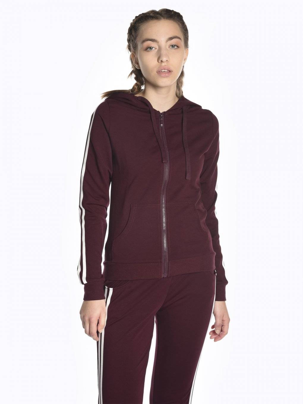 Zip-up hoodie with sleeve stripes