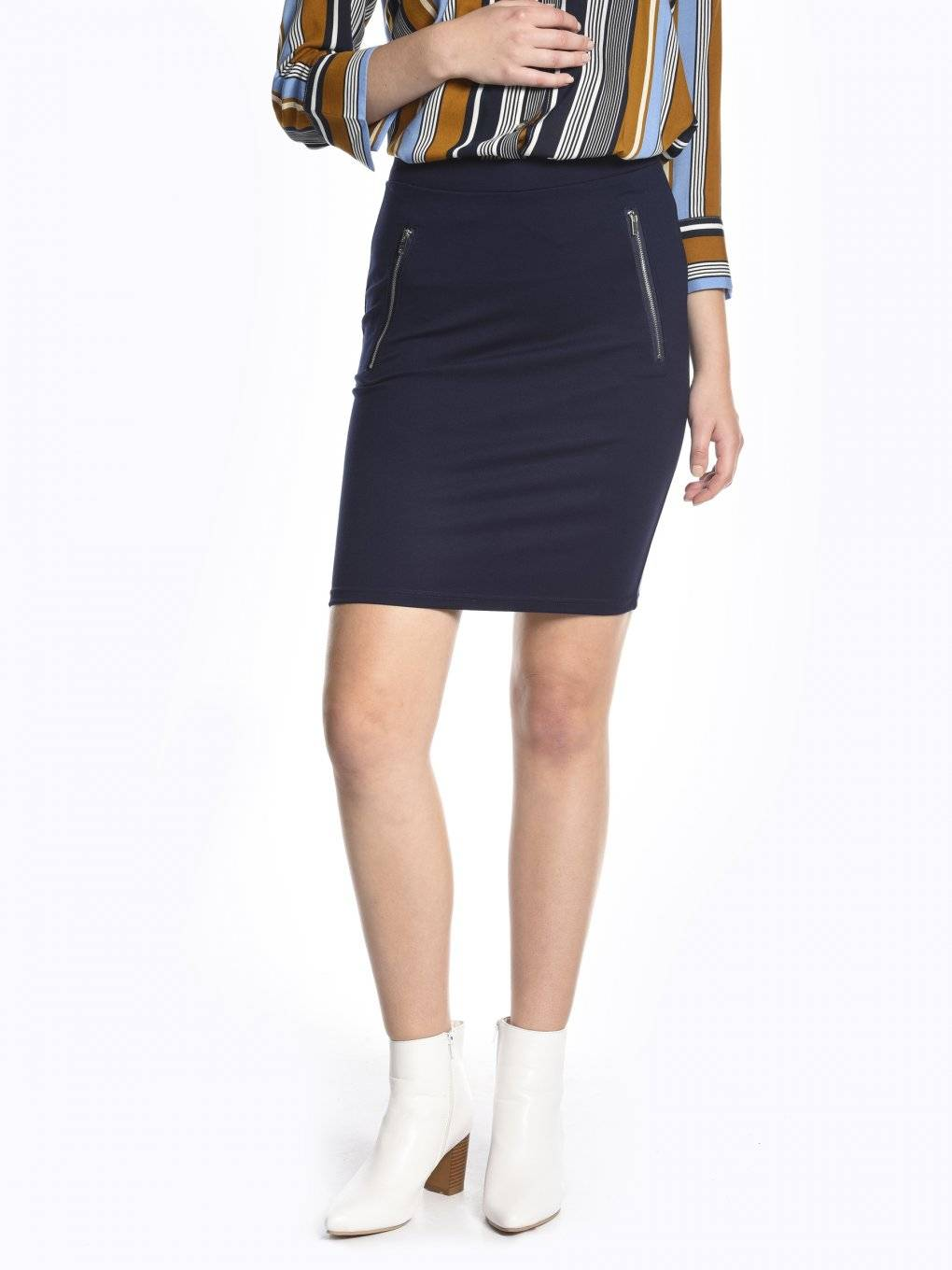 Bodycon skirt with zippers
