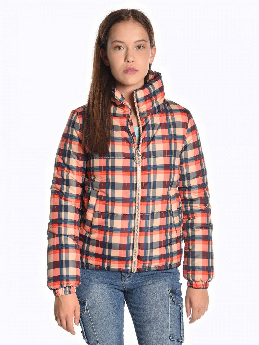 Plaid padded bomber jacket