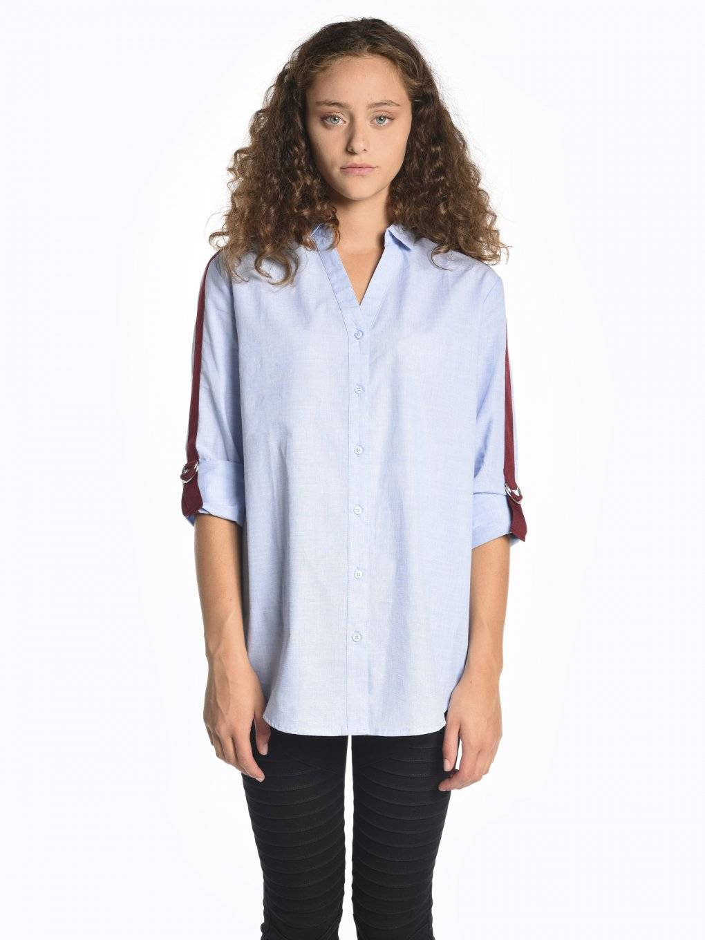 Oversized fit shirt with contrast tapes