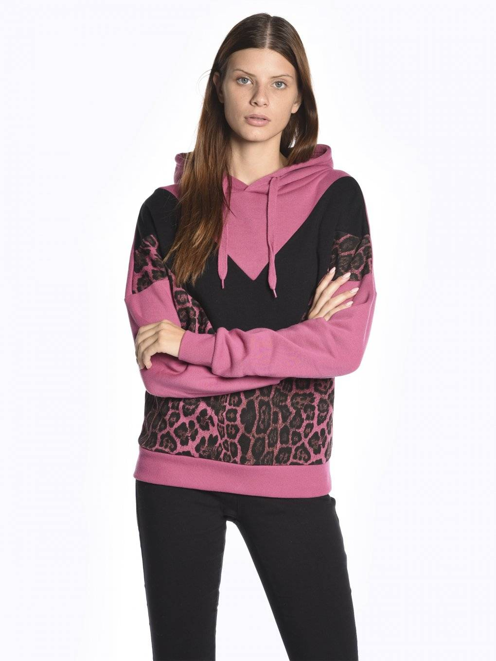 Hoodie with animal print