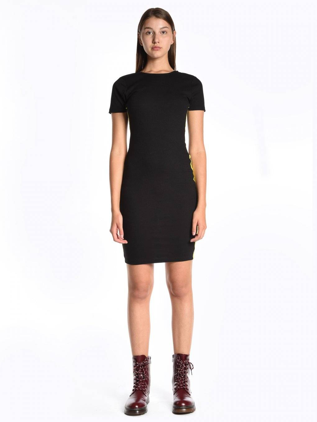 Bodycon dress with contrast side stripe