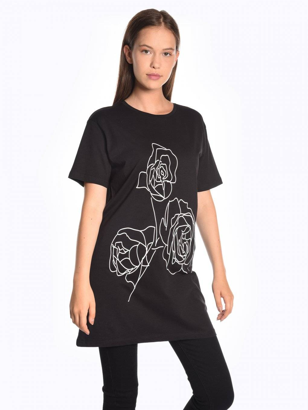 Longline to-shirt with print