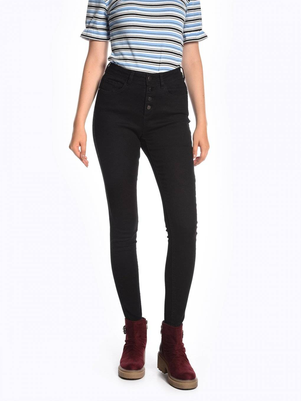 High waisted skinny jeans in black wash