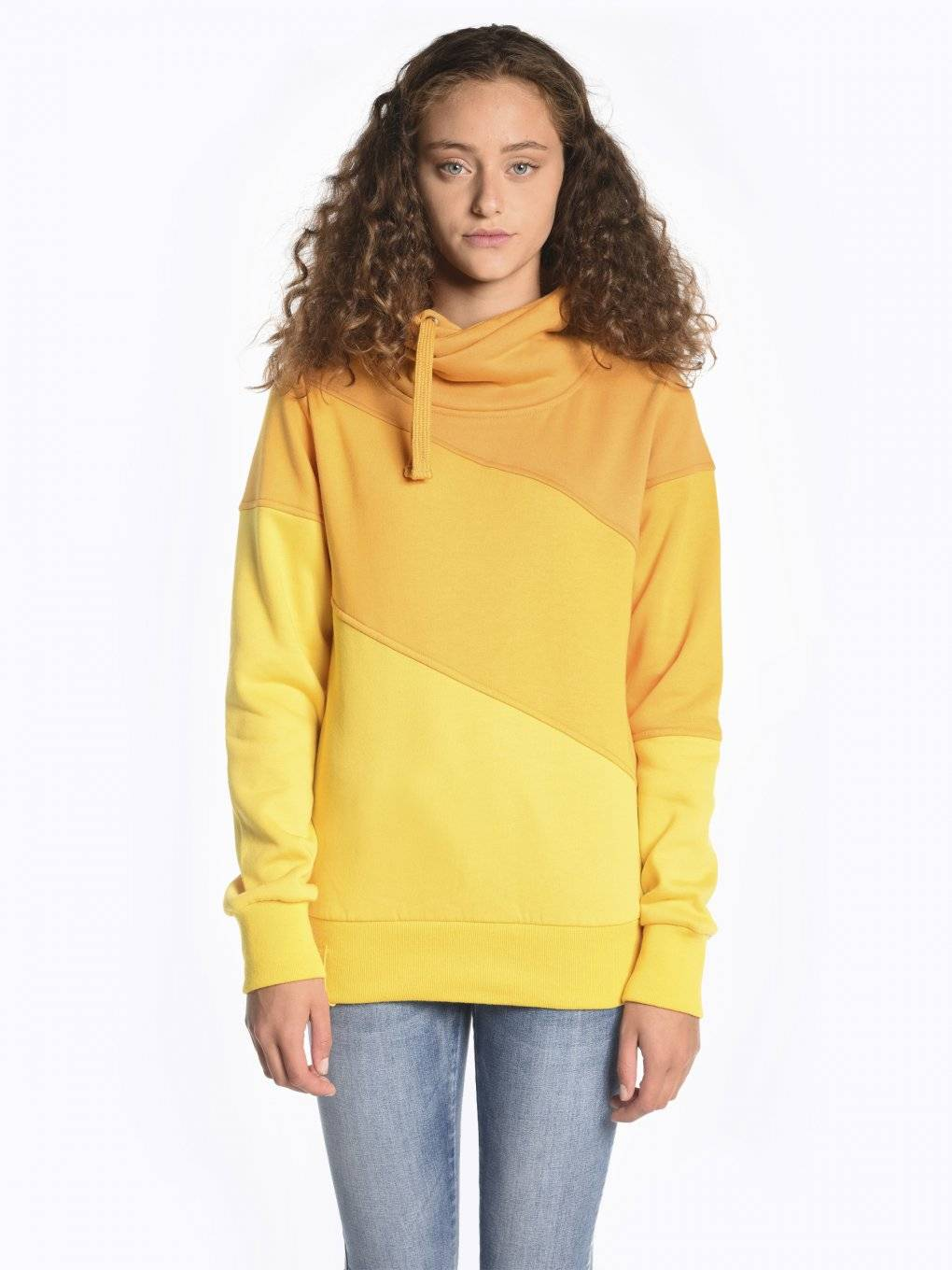 Colour block high collar sweatshirt
