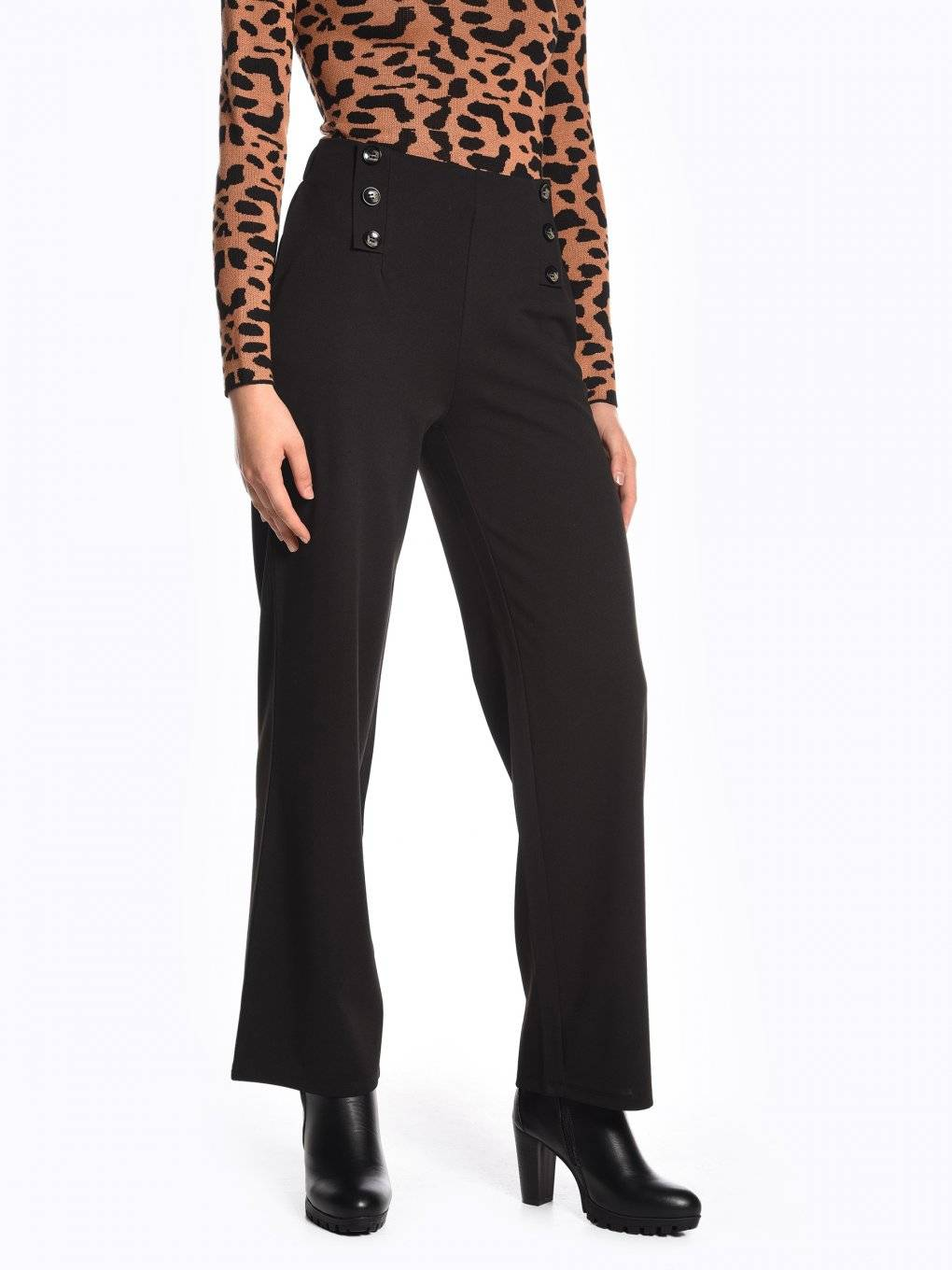 Wide leg high waisted stretchy trousers