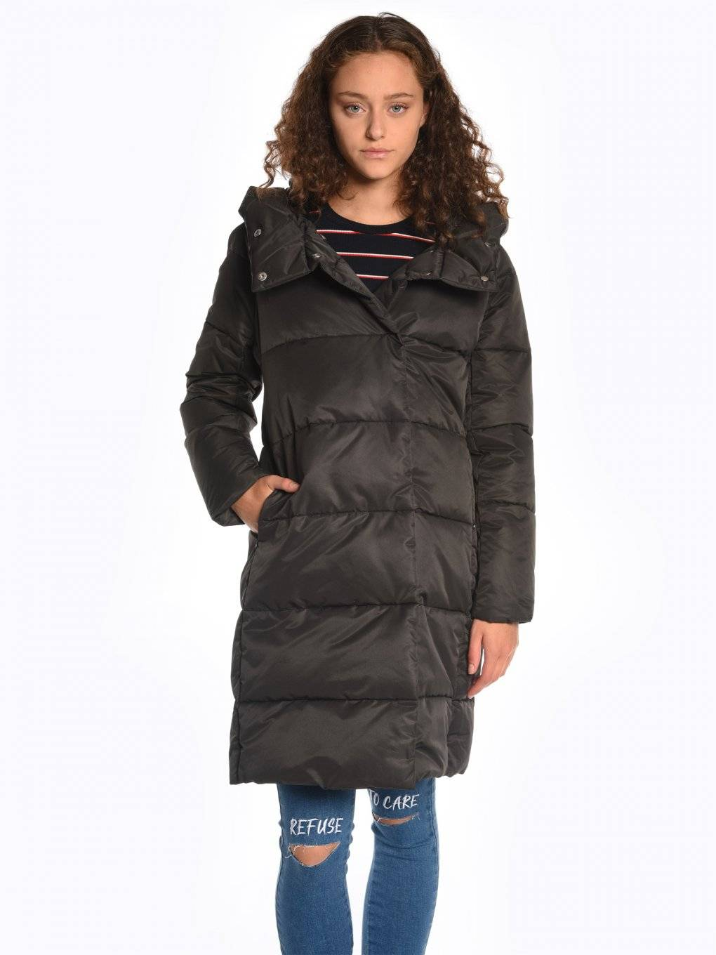 High collar quilted padded jacket