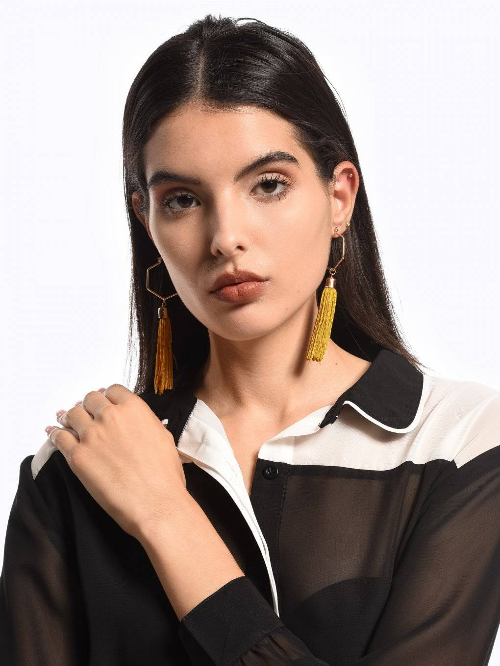Longline earrings with tassels