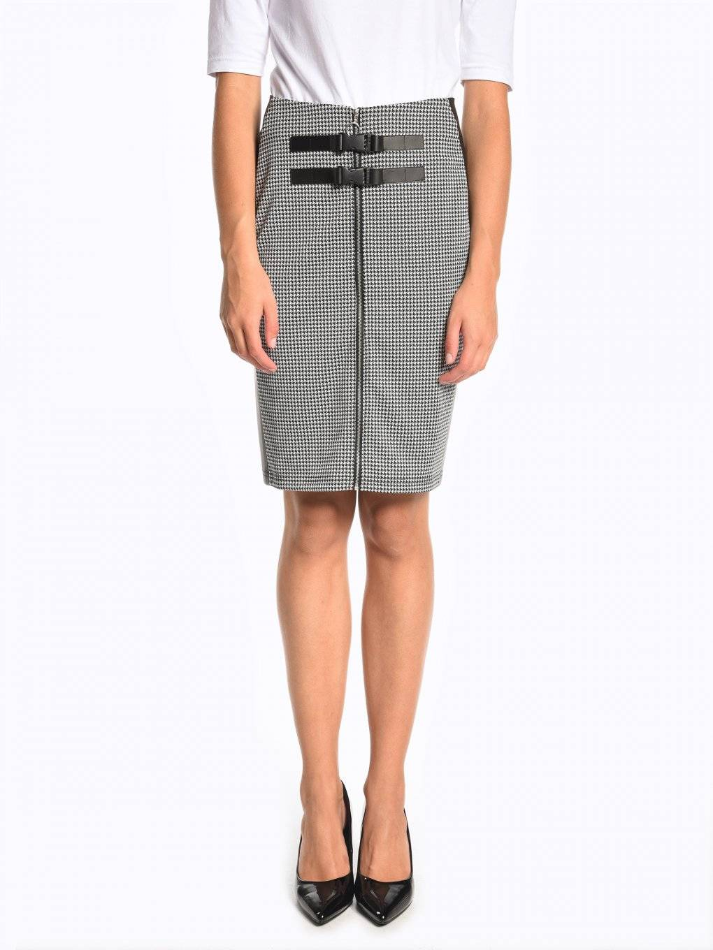 Bodycon zip-up skirt with buckles