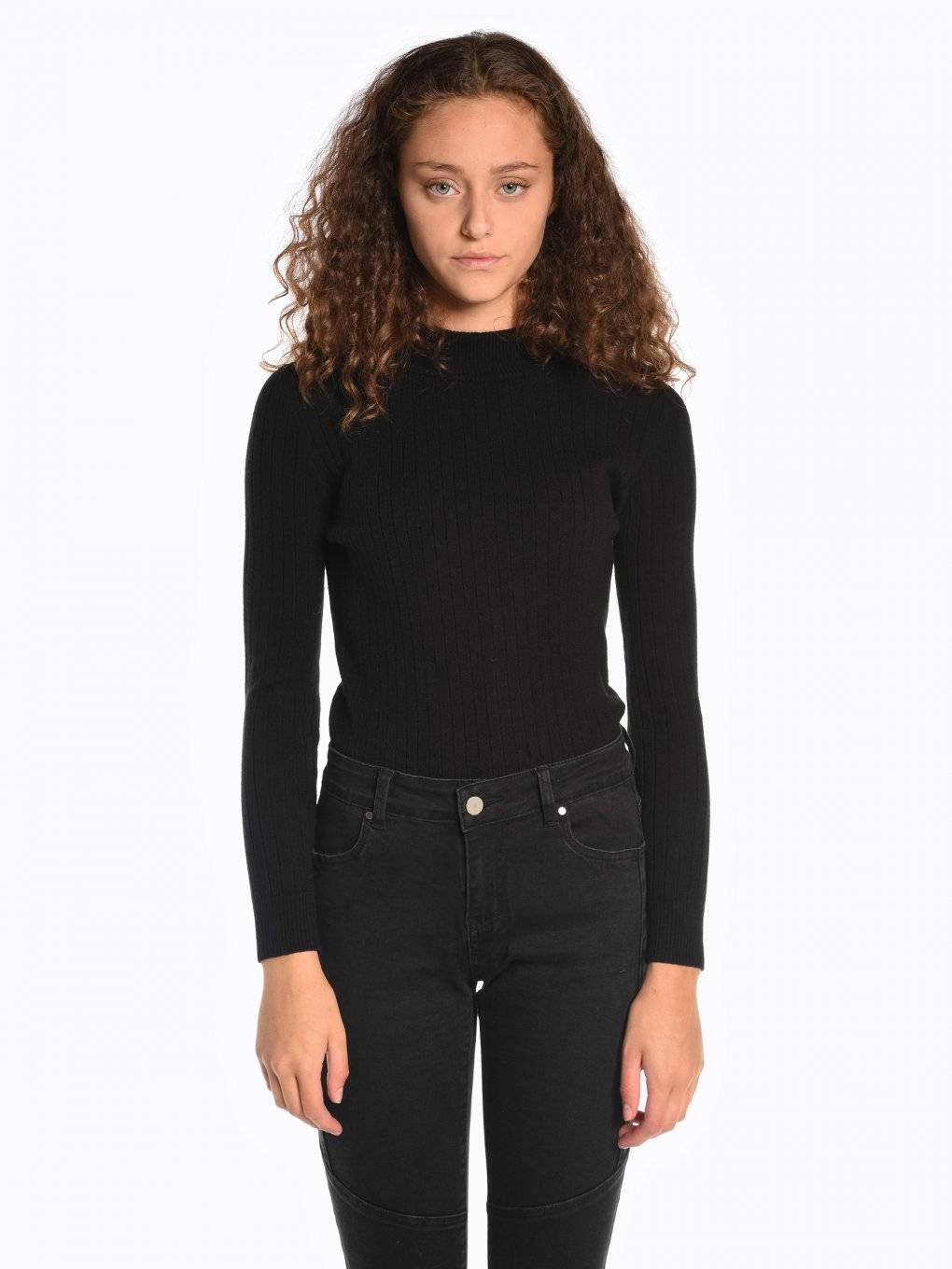 High neck rib-knit jumper