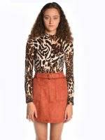 Animal print top with high collar
