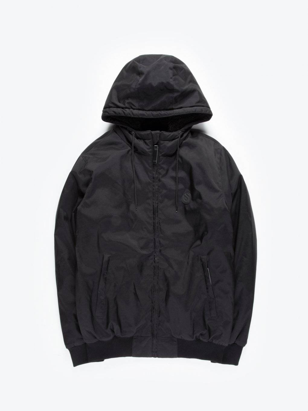 Sherpa lined nylon hooded jacket