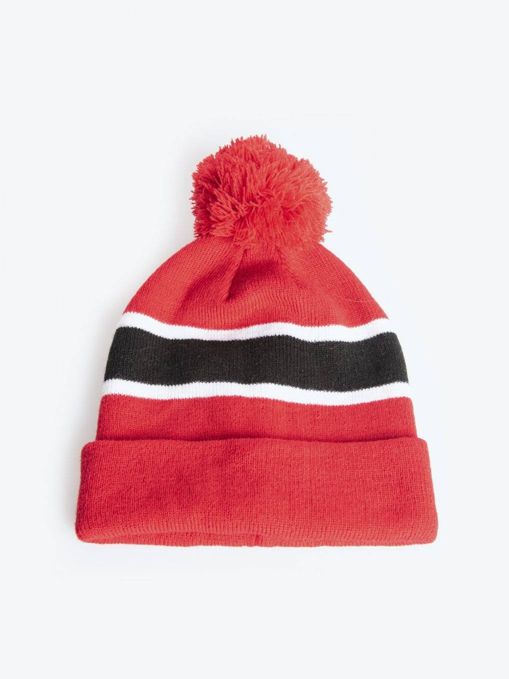 Pom pom beanie with stripes