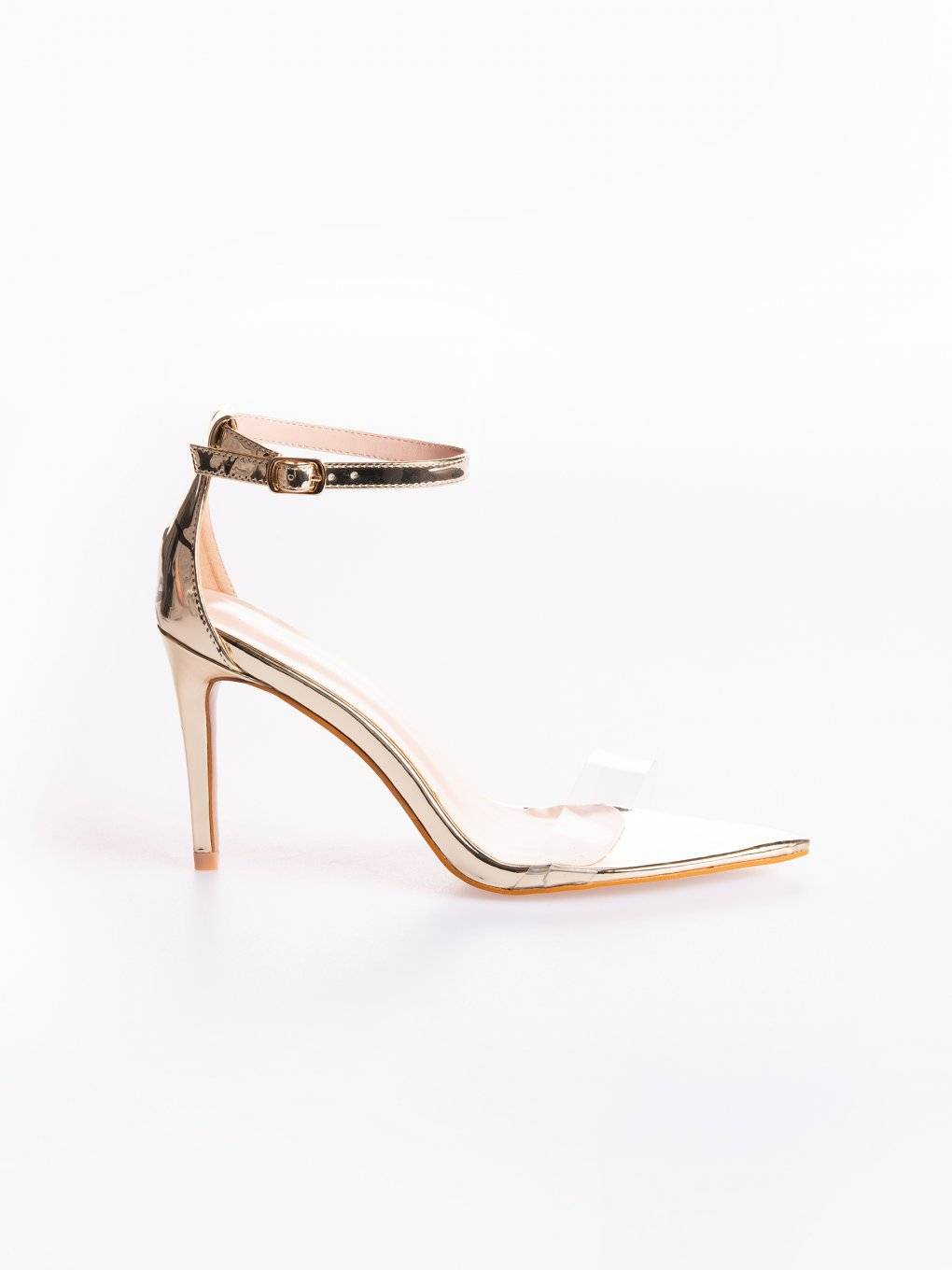 Metallic high heel sandals with transparent plastic strap