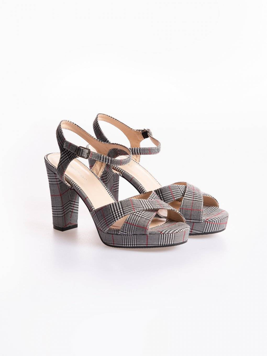 High heel plaid sandals