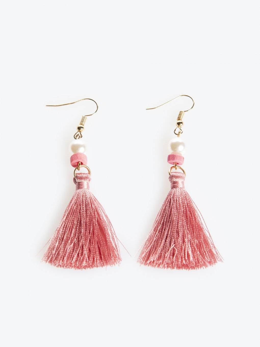 Long drop earrings with tassels
