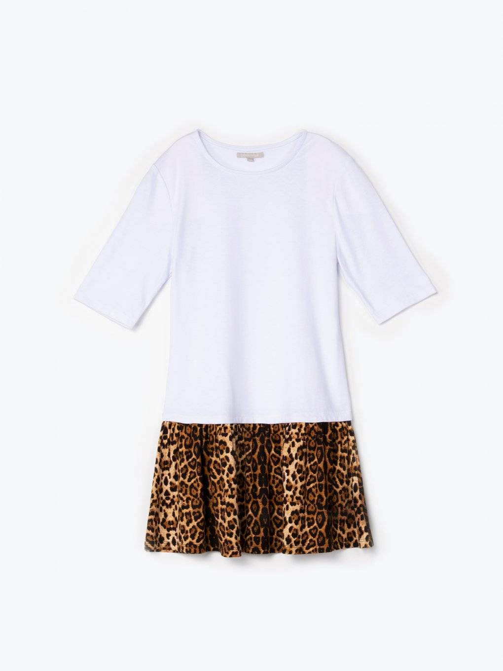 Combined top with animal print