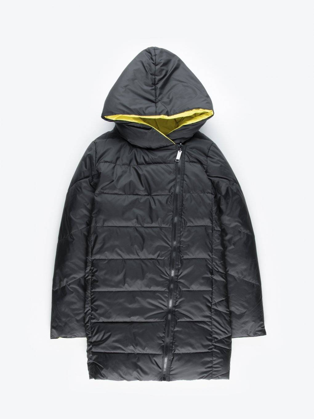 Reversible quilted padded jacket with hood