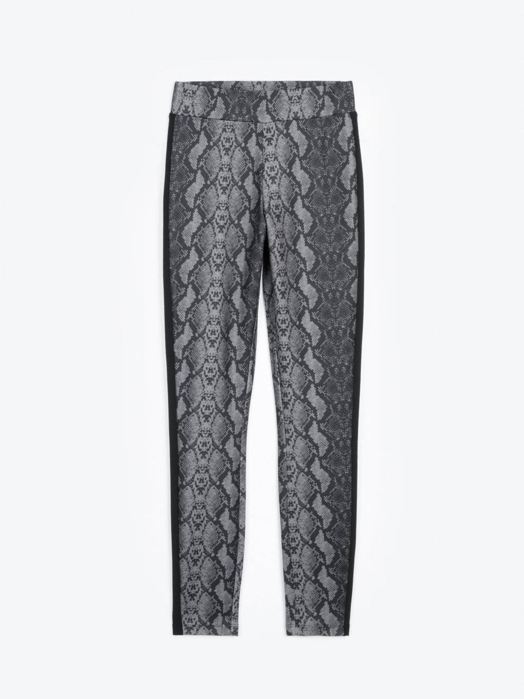Animal print elastic skinny trousers