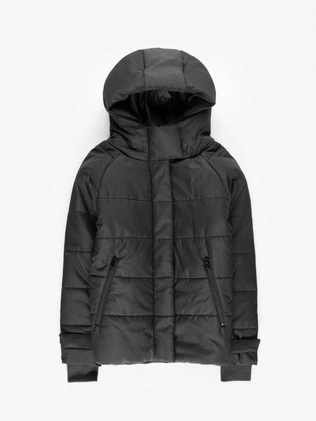 Quilted padded jacket with hood and inner backpack