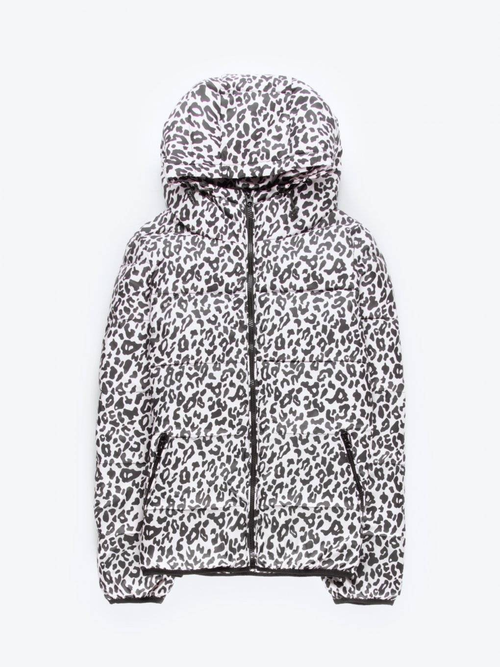 Leopard print quilted padded jacket with hood