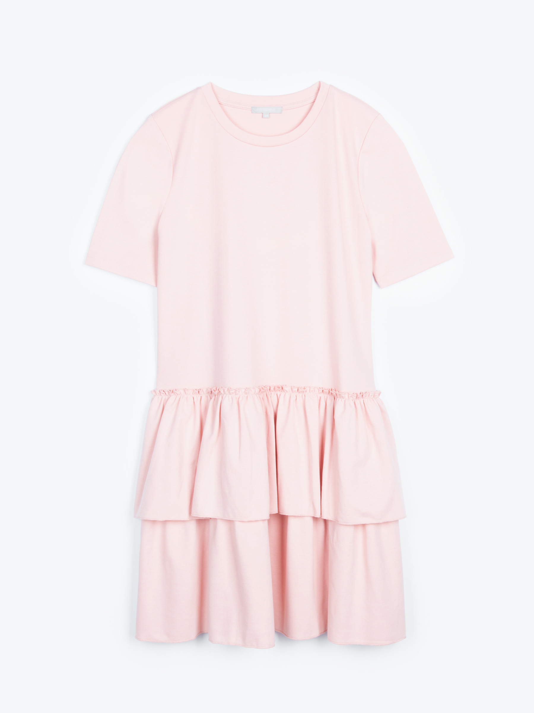 GATE Úpletové šaty s volánovou sukňou