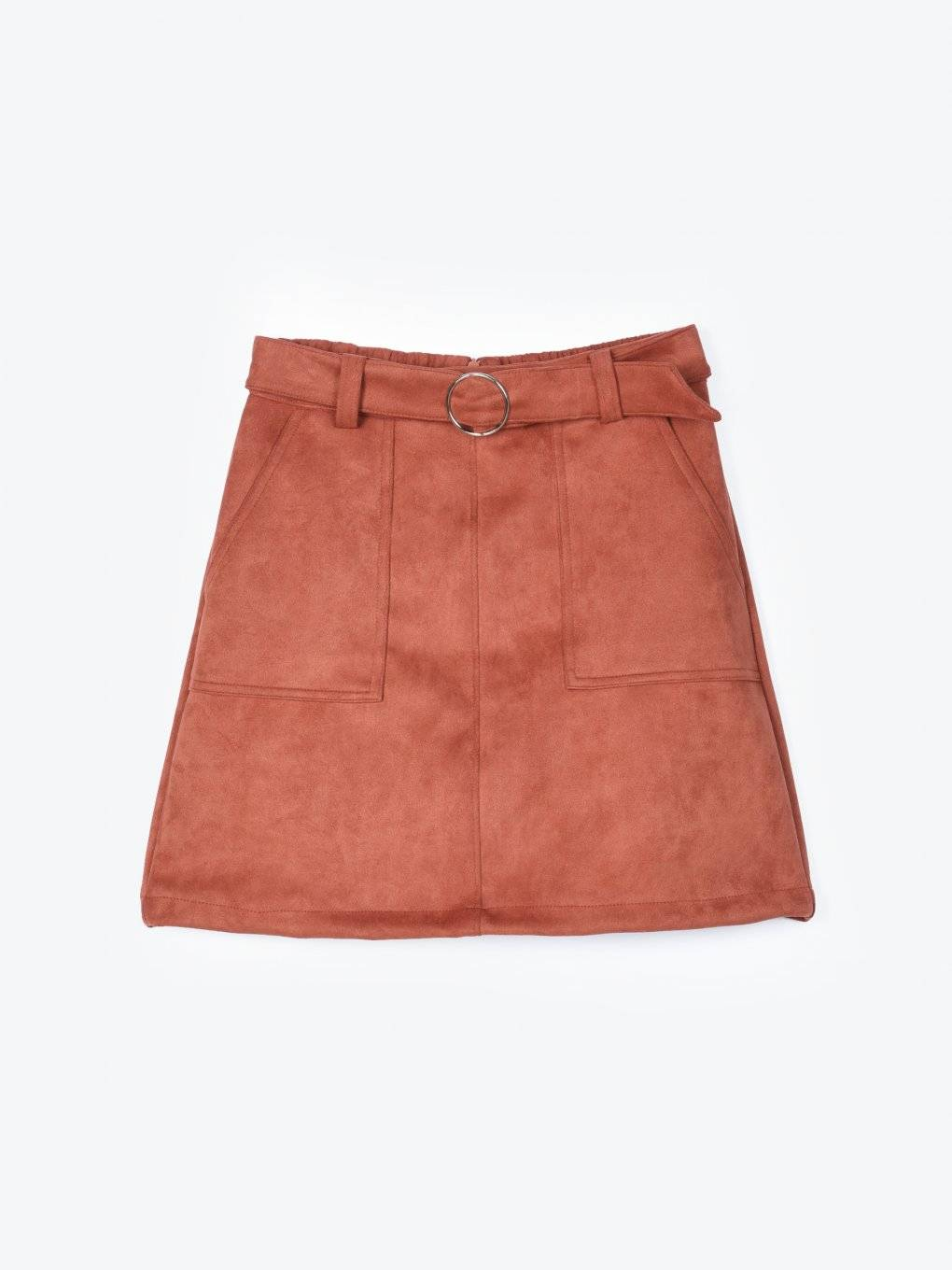 Faux suede mini skirt with belt