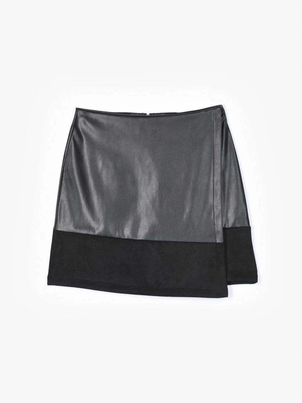 Combined faux leather skirt