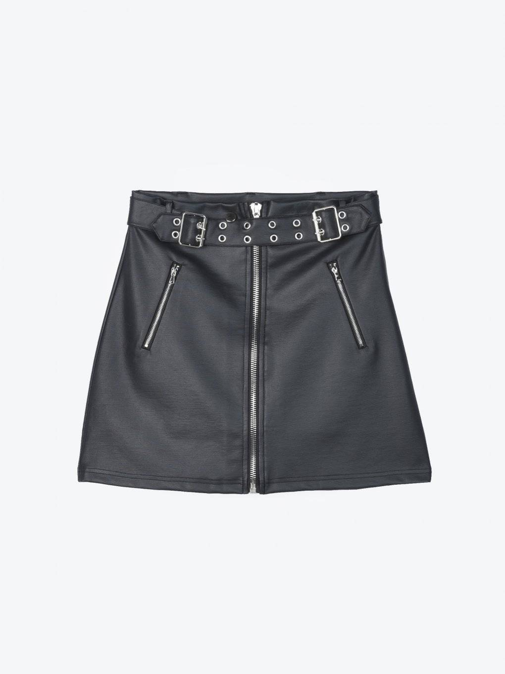 Faux leater zip-up mini skirt with belt