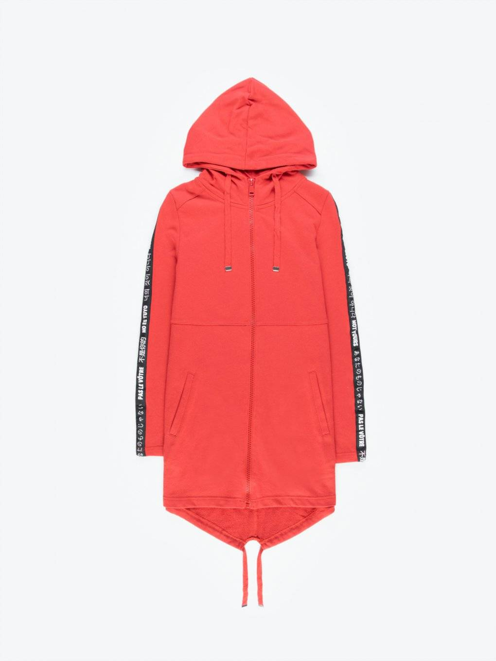 Longline zip-up hoodie with decorative tape