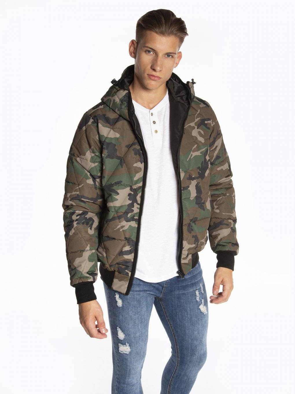 Quilted padded camo print bomber jacket with hood