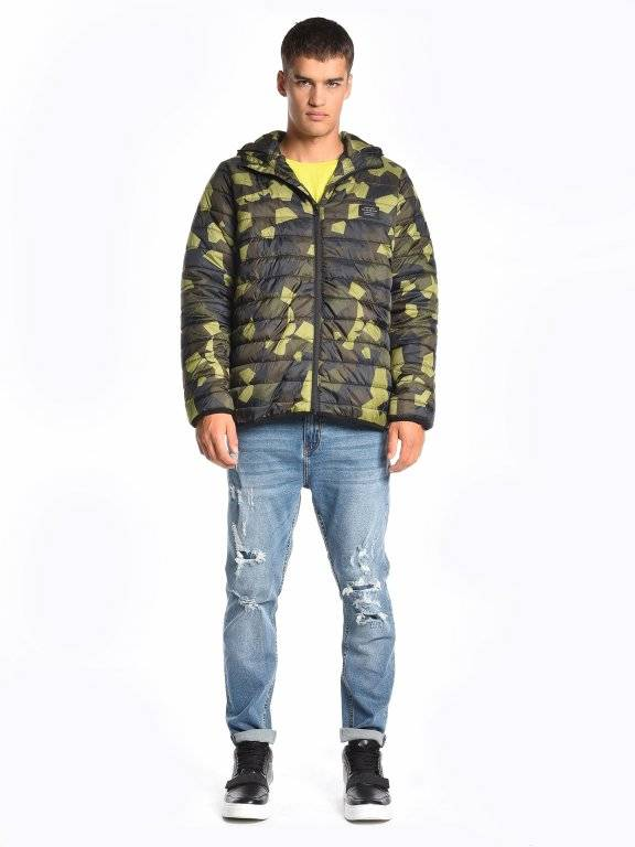 Quilted light padded camo print jacket with hood