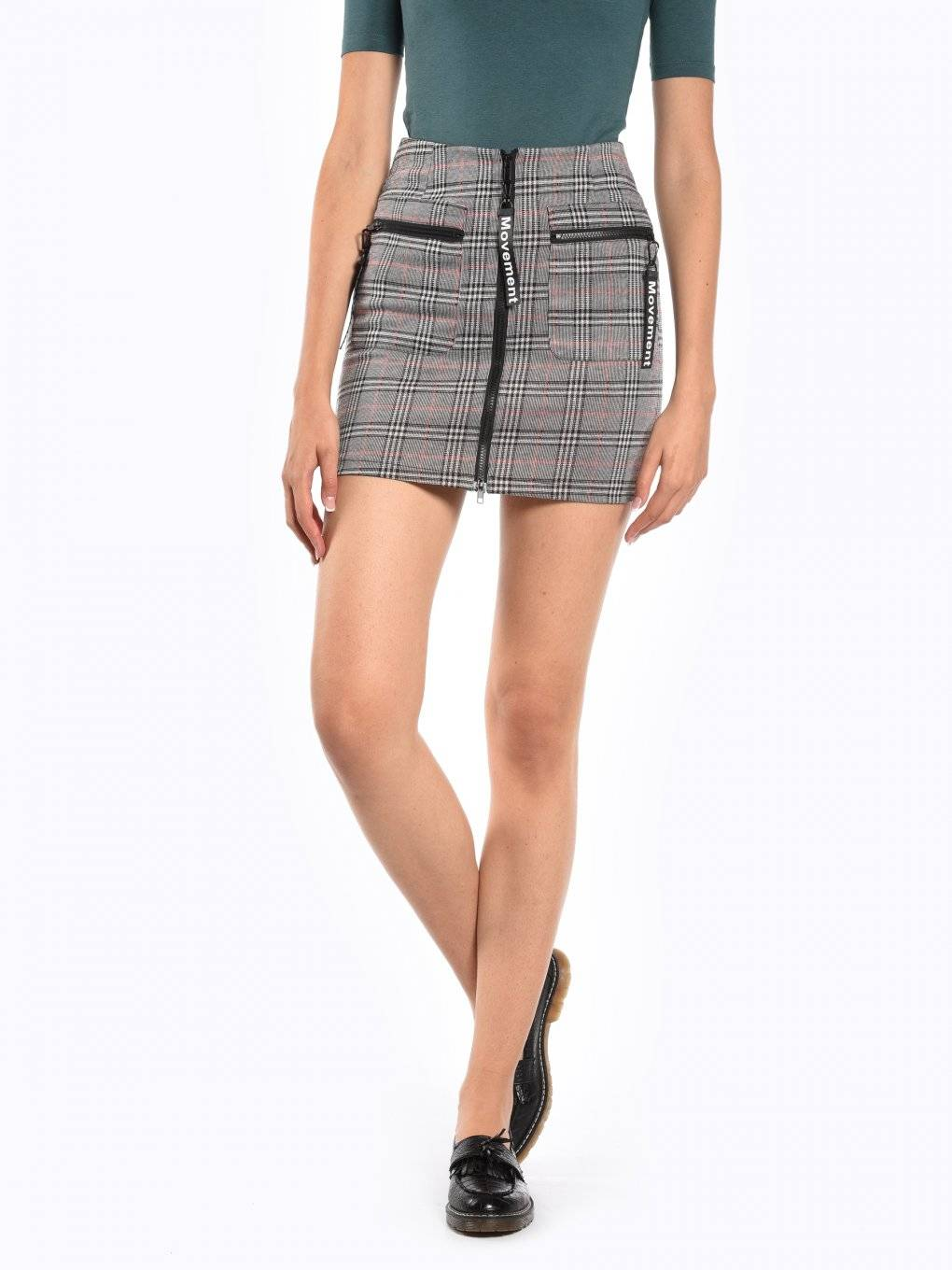 Plaid zip-up skirt with pockets