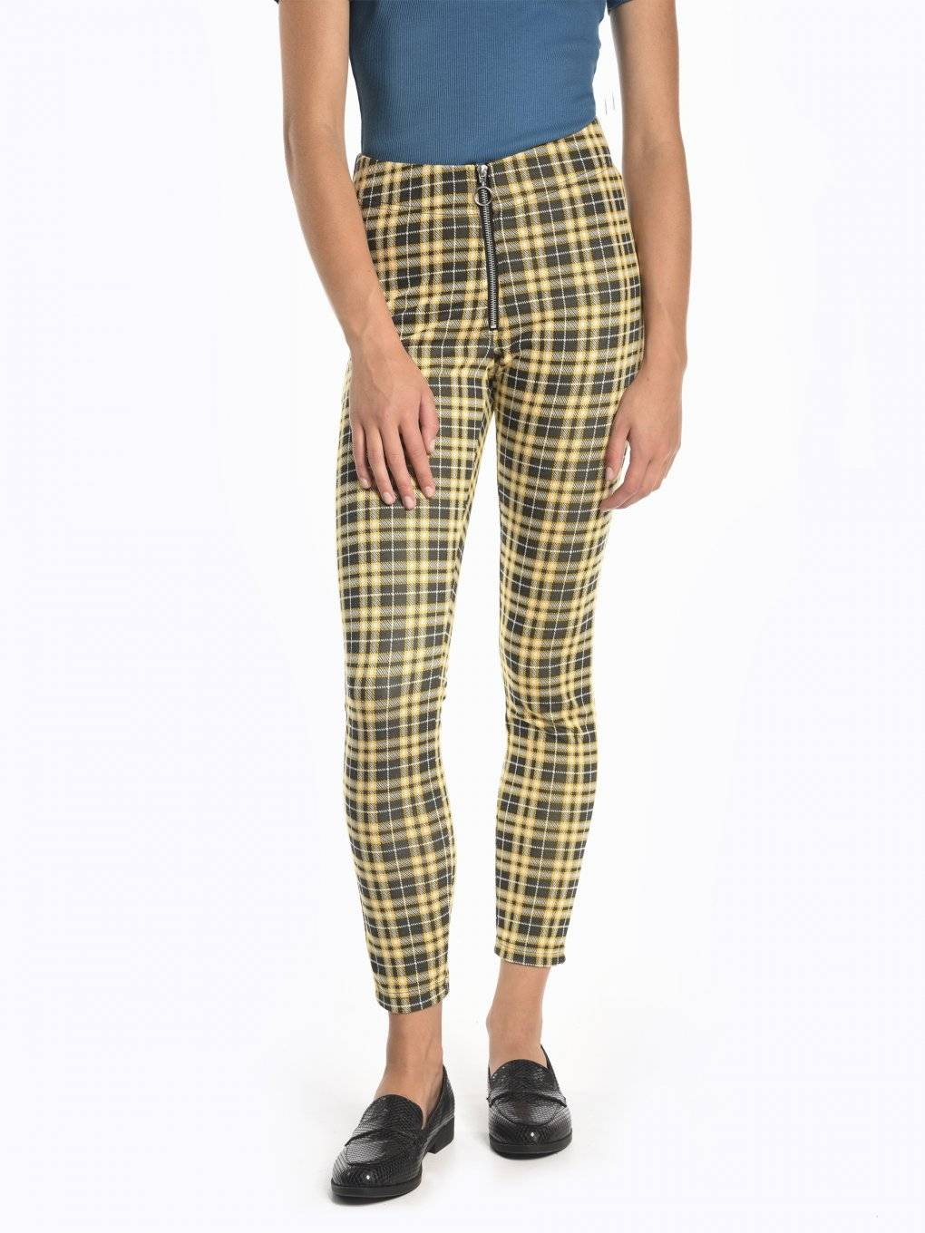 Plaid slim fit trousers