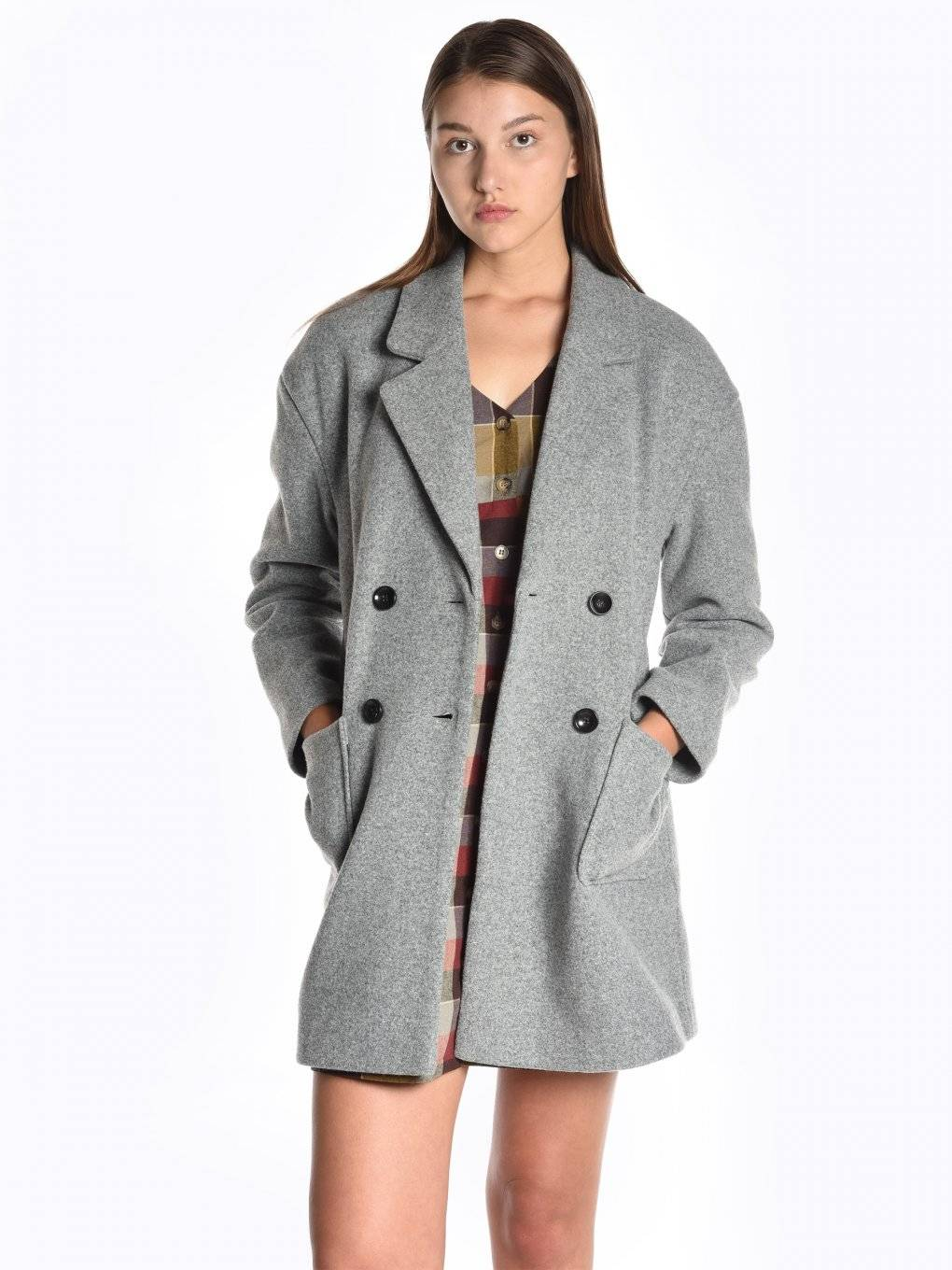 Oversized double brested wool coat