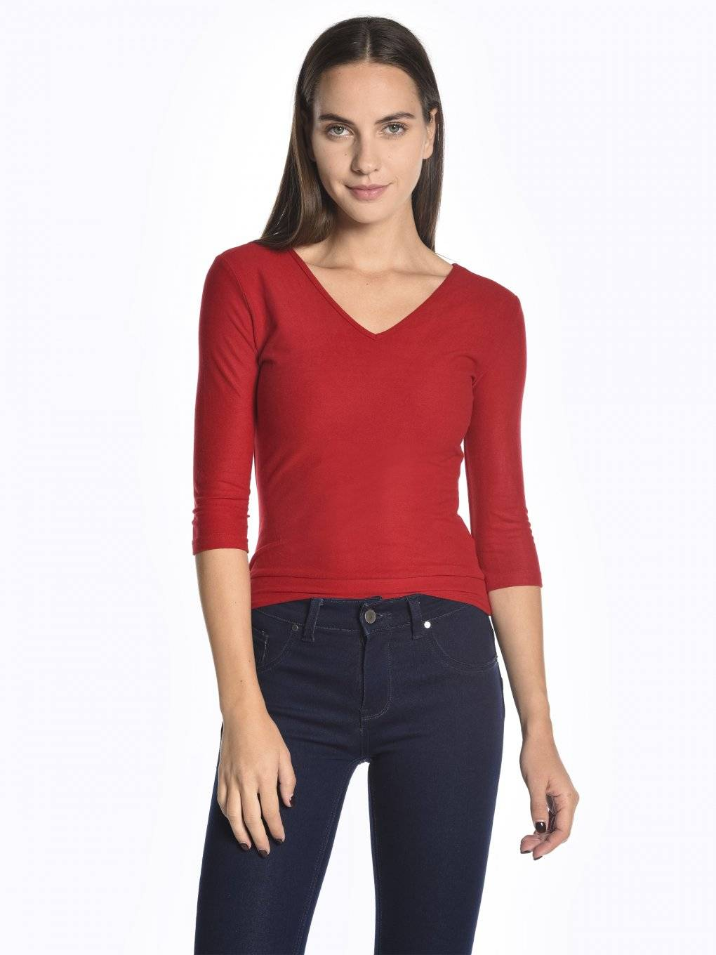 3/4 sleeve v-neck t-shirt