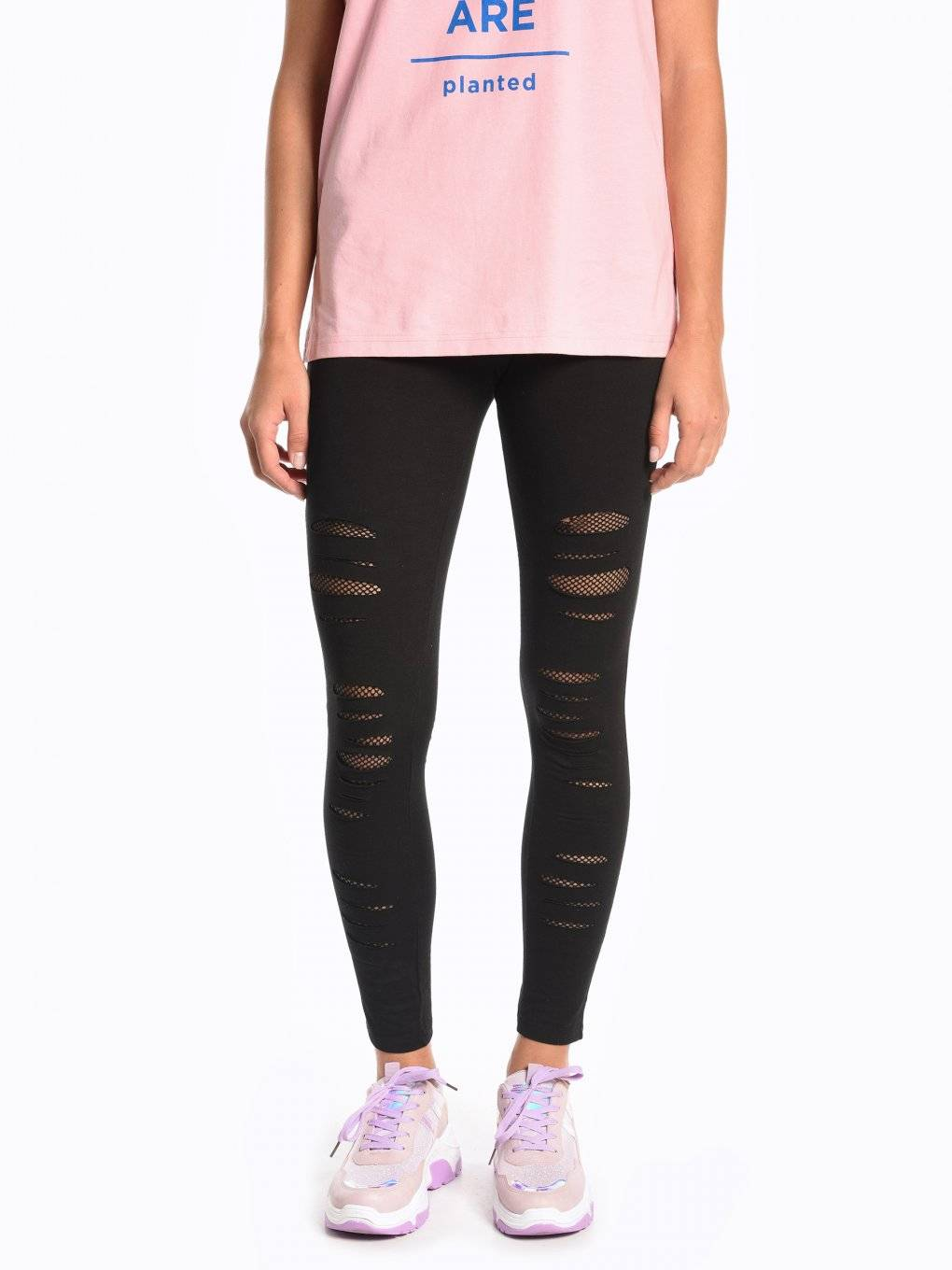 Distressed cotton leggings