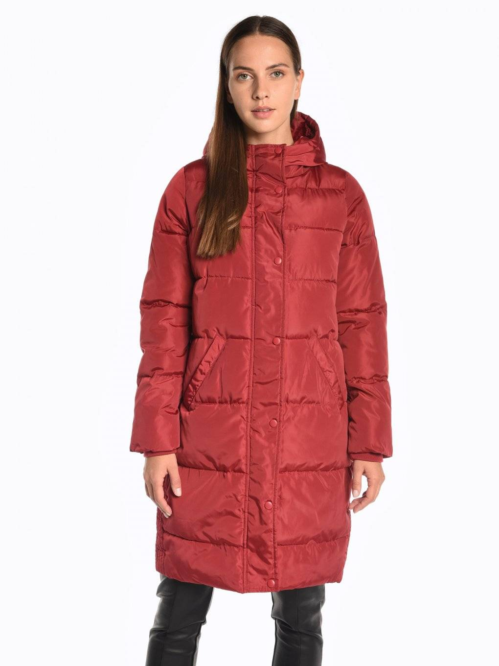 Basic longline quilted padded jacket with hood