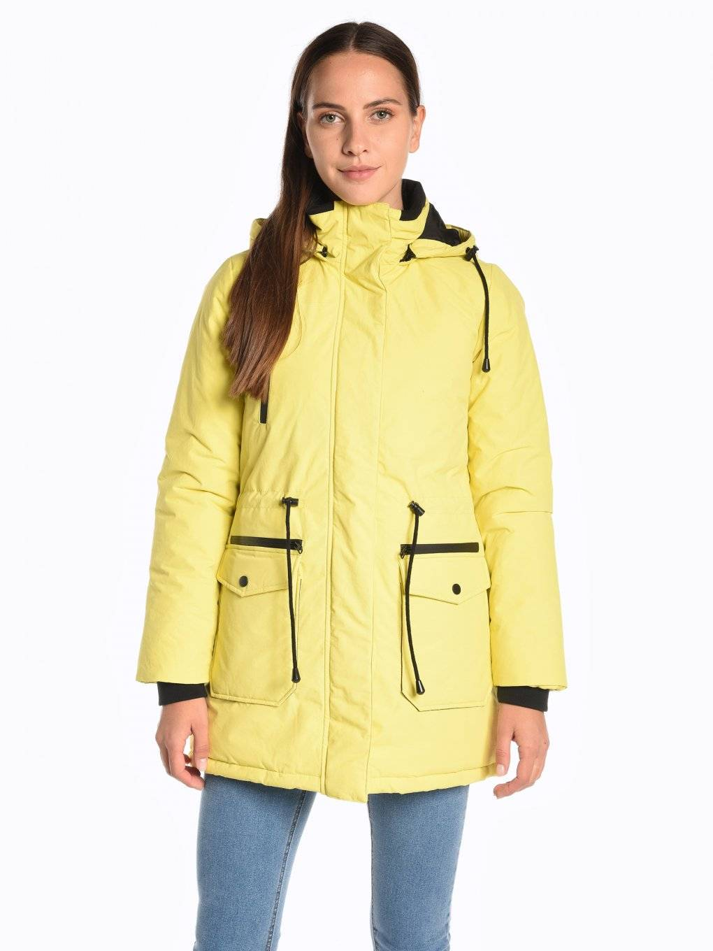 Water-resistant padded jacket with hood