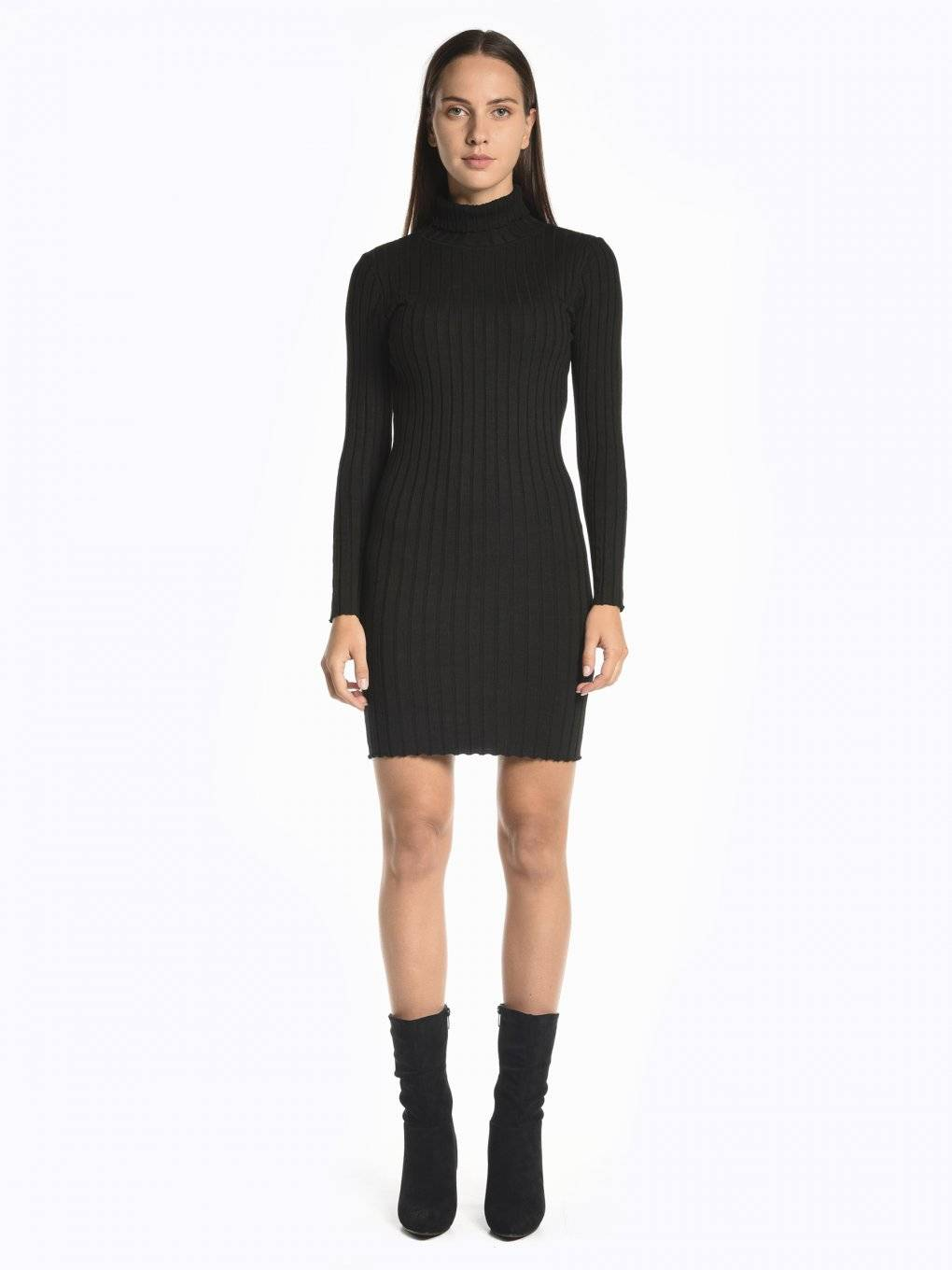 Ribbed bodycon dress with roll neck