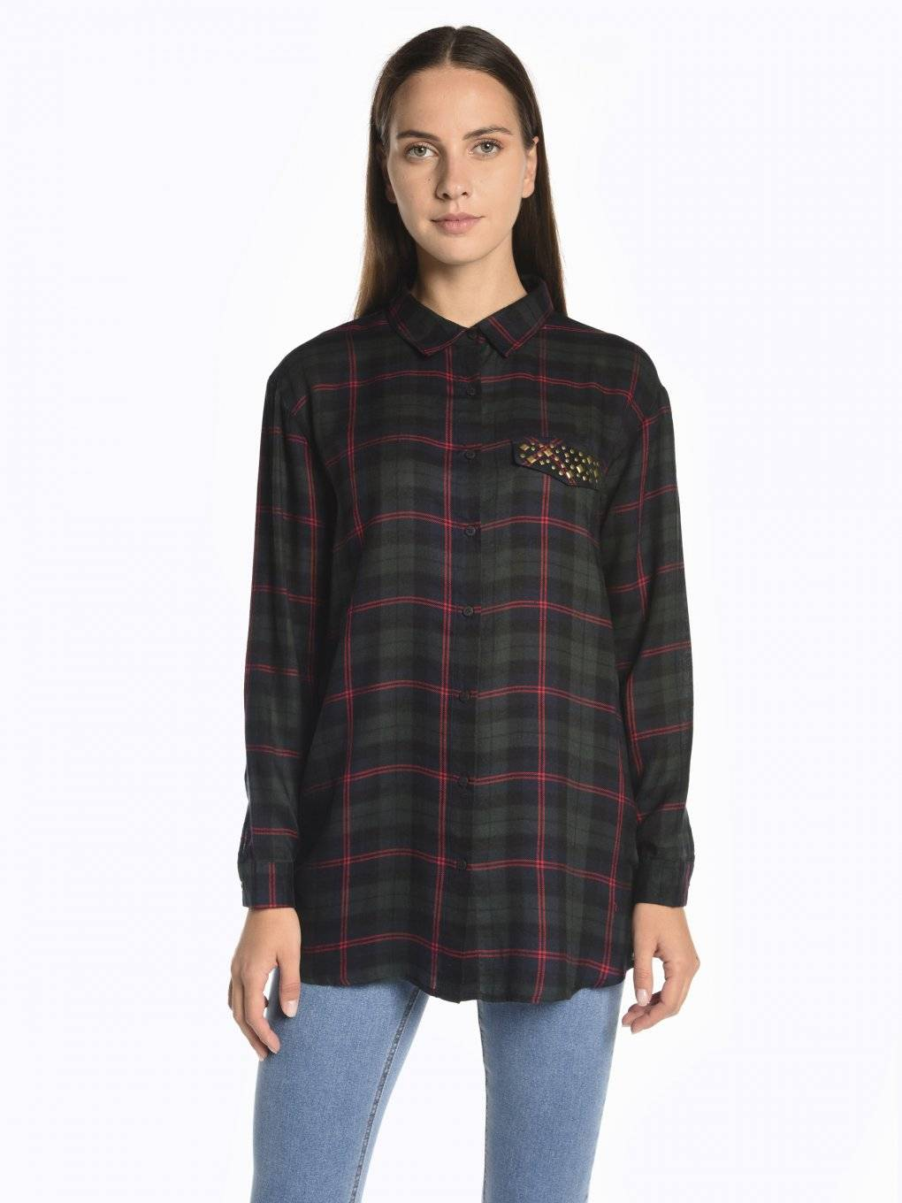Longline plaid viscose shirt with metal studs